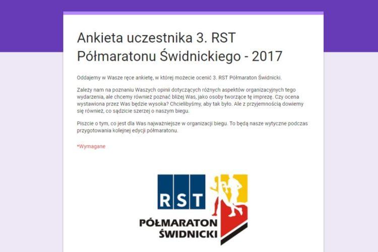 Ankieta uczestnika 3. RST Półmaratonu Świdnickiego